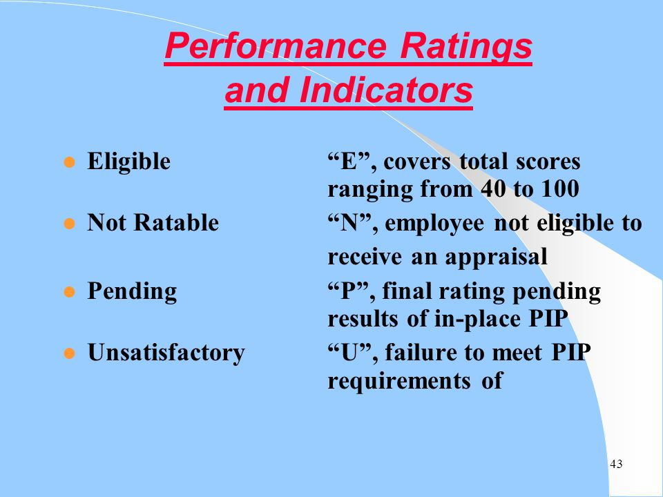 Performance Ratings and Indicators