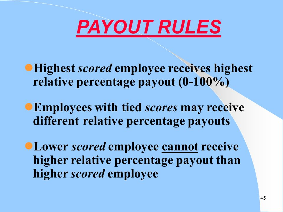 PAYOUT RULES Highest scored employee receives highest relative percentage payout (0-100%)