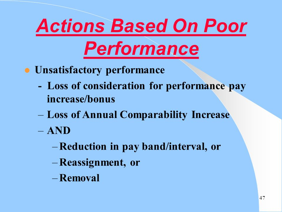 Actions Based On Poor Performance