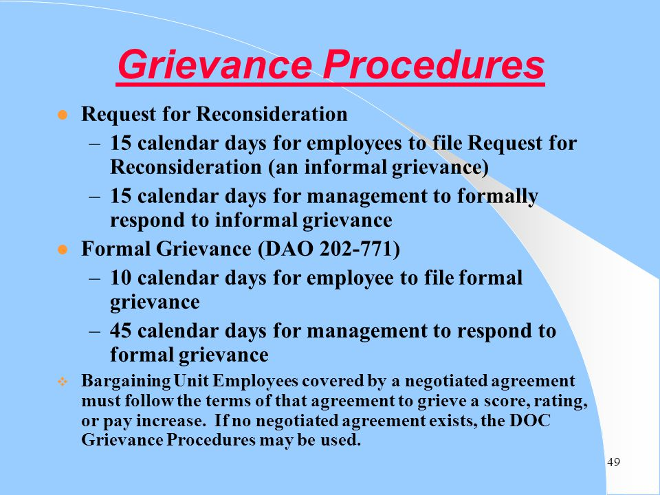 Grievance Procedures Request for Reconsideration