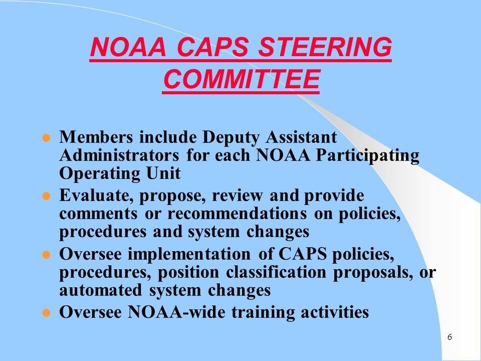 NOAA CAPS STEERING COMMITTEE