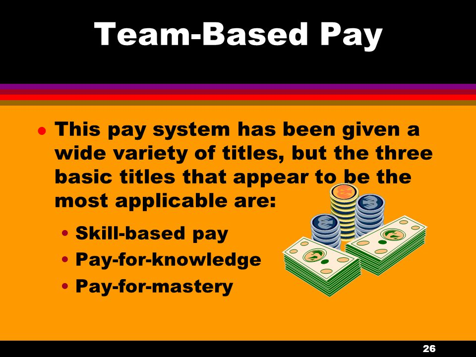 Team-Based Pay This pay system has been given a wide variety of titles, but the three basic titles that appear to be the most applicable are: