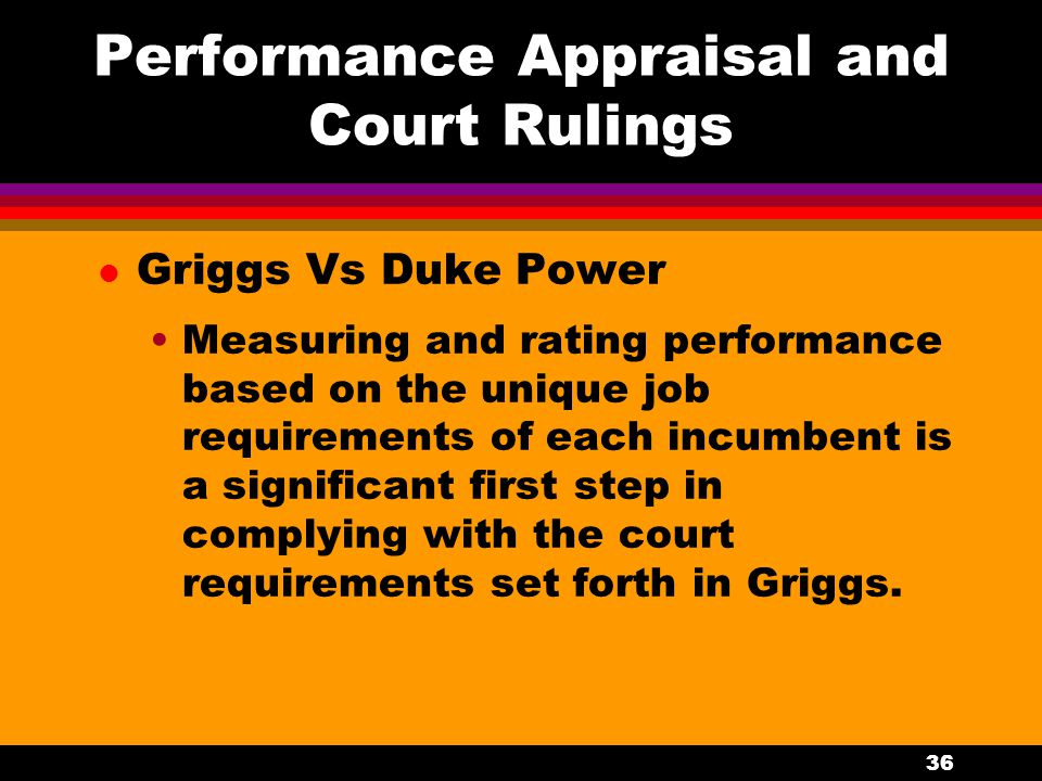 Performance Appraisal and Court Rulings
