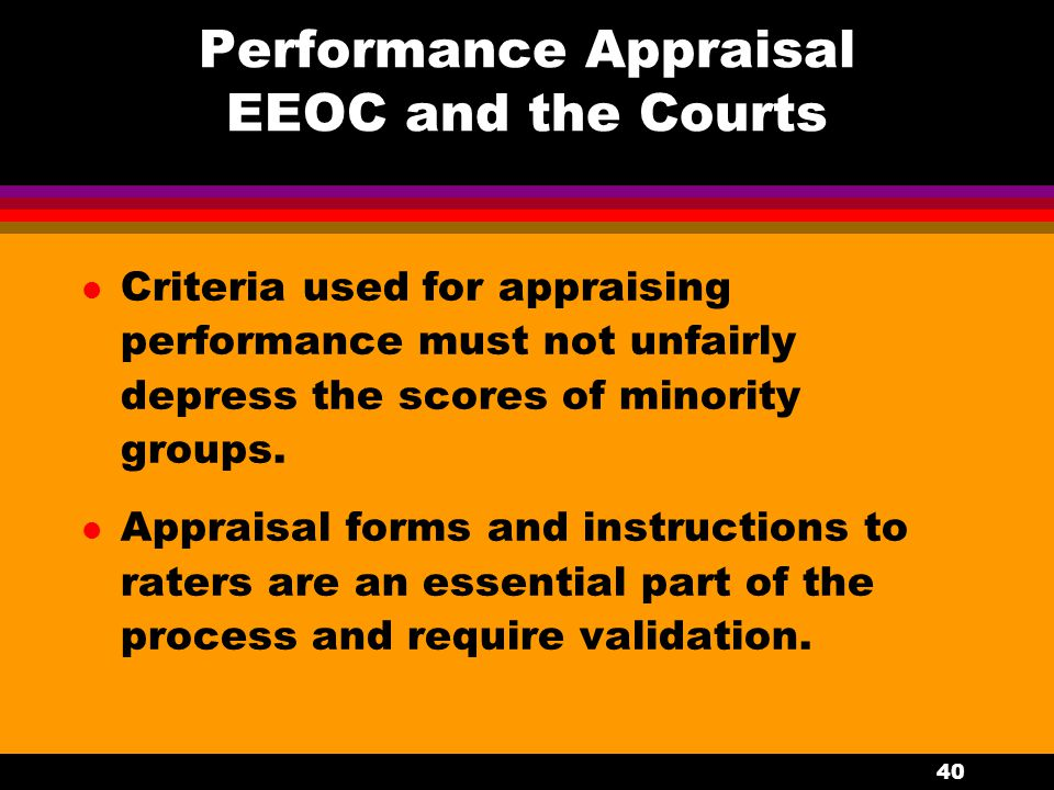 Performance Appraisal EEOC and the Courts