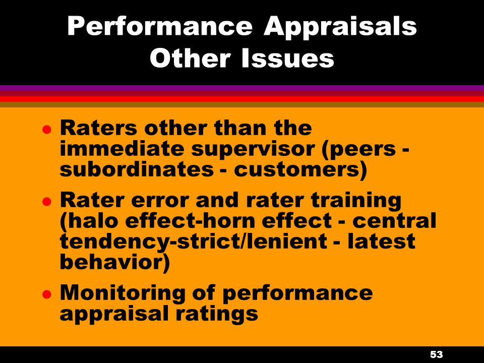 Performance Appraisals Other Issues