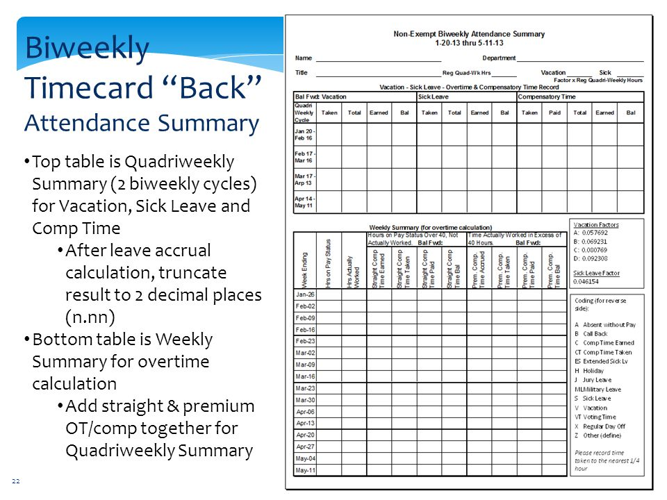biweekly timecard back attendance summary - Bi Weekly Time Cards