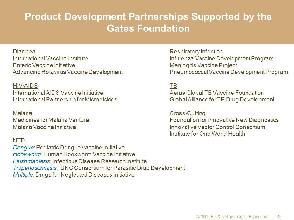 Product Development Partnerships Supported by the Gates Foundation