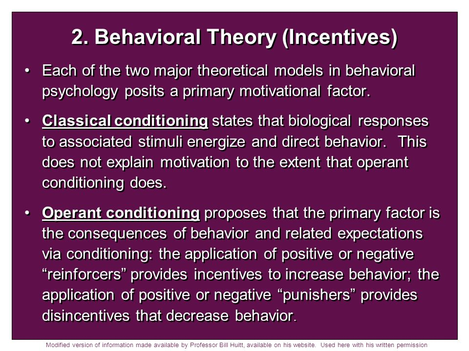 2. Behavioral Theory (Incentives)