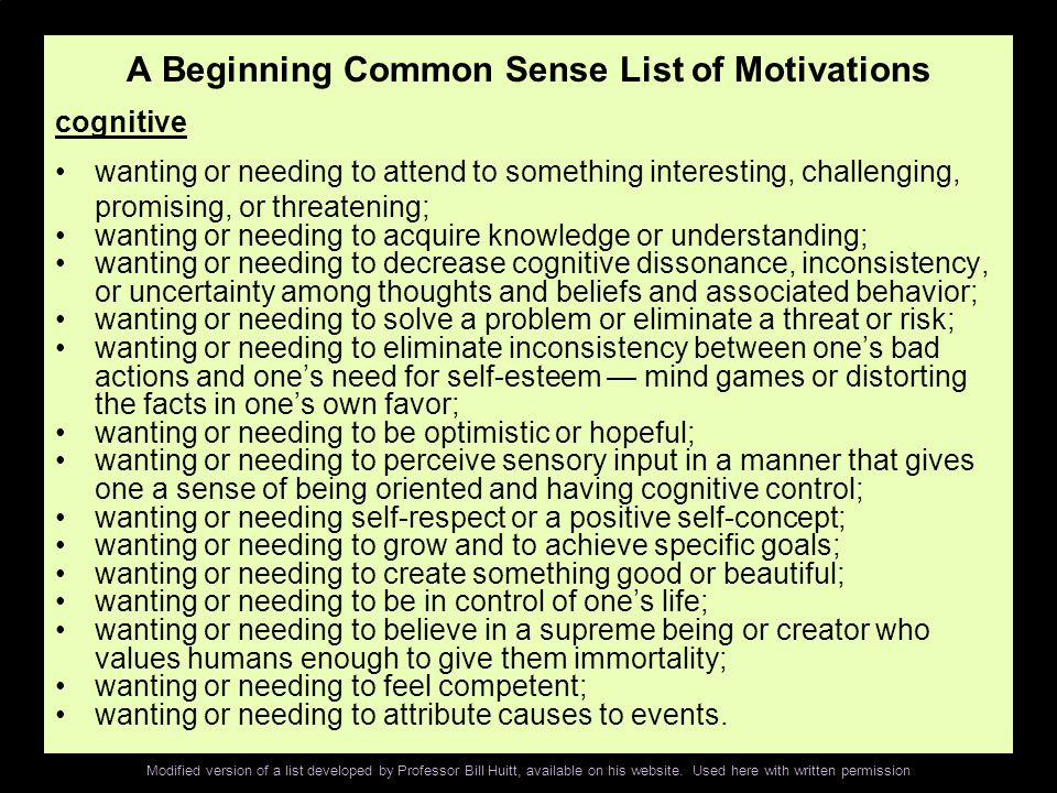 A Beginning Common Sense List of Motivations