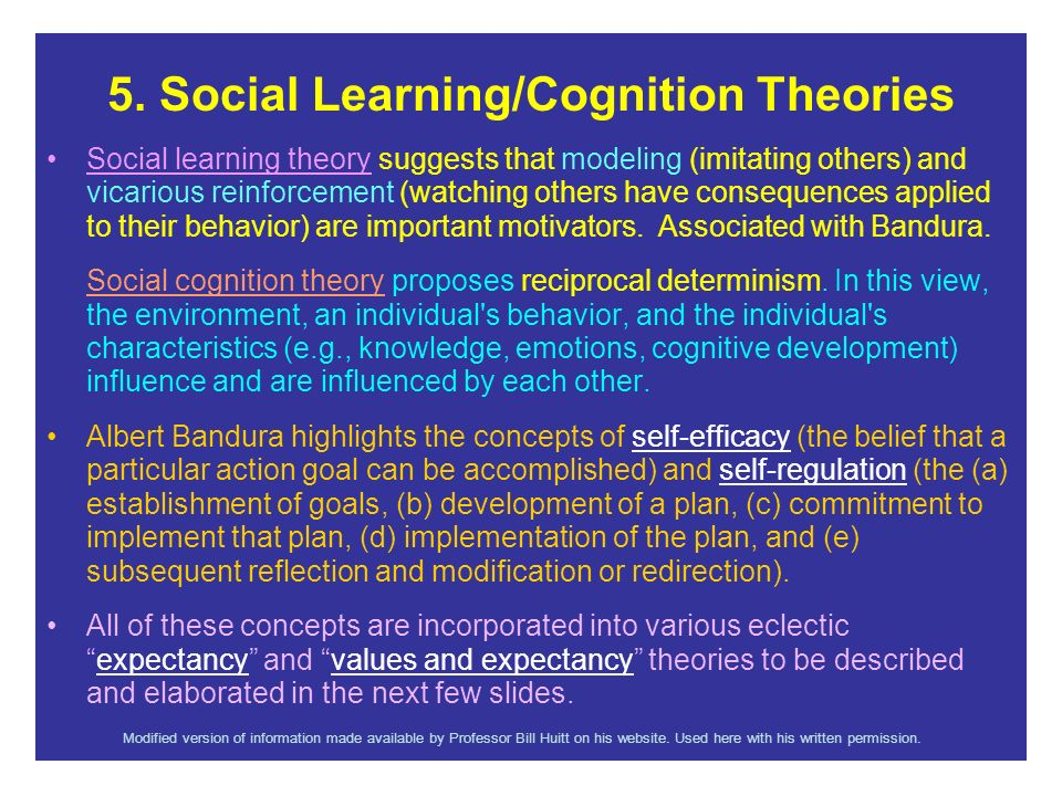 5. Social Learning/Cognition Theories