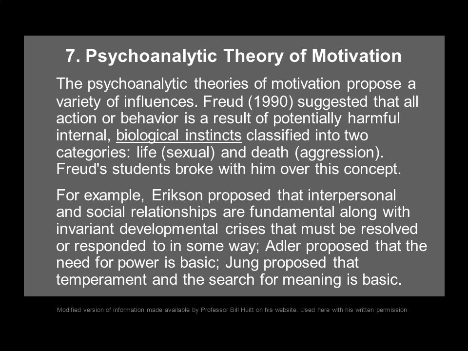 7. Psychoanalytic Theory of Motivation