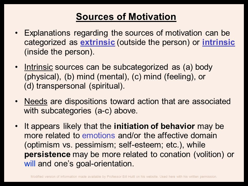 Sources of Motivation