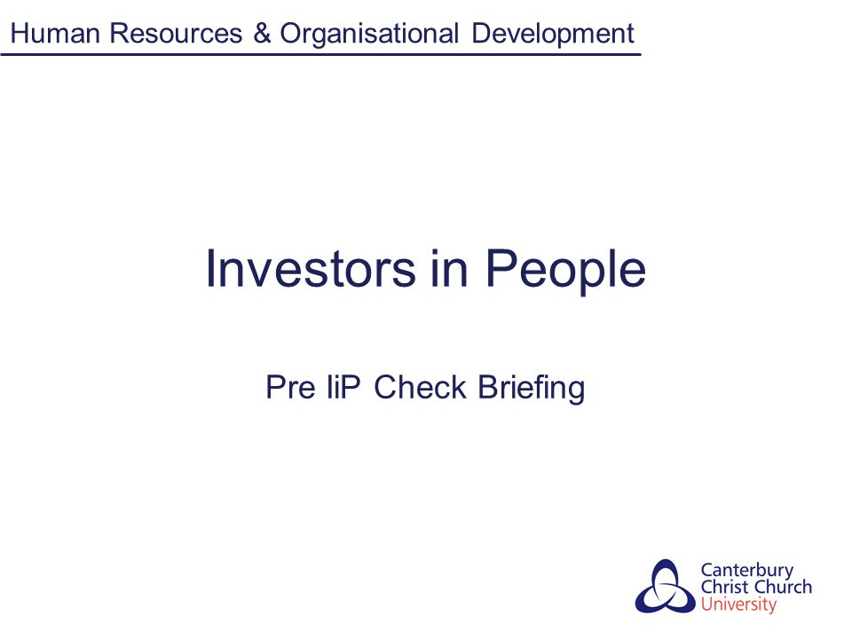 Investors in People Pre IiP Check Briefing