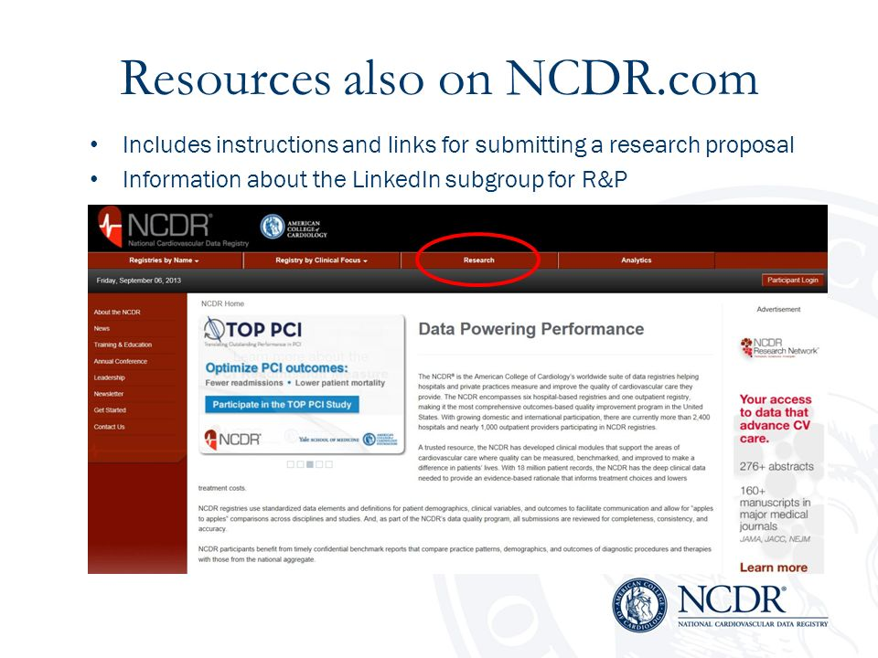 Resources also on NCDR.com