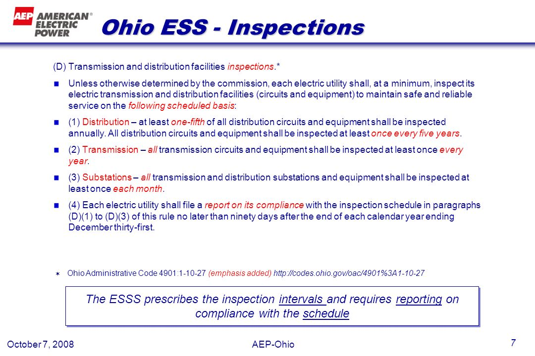 Ohio ESS - Inspections (D) Transmission and distribution facilities inspections.*