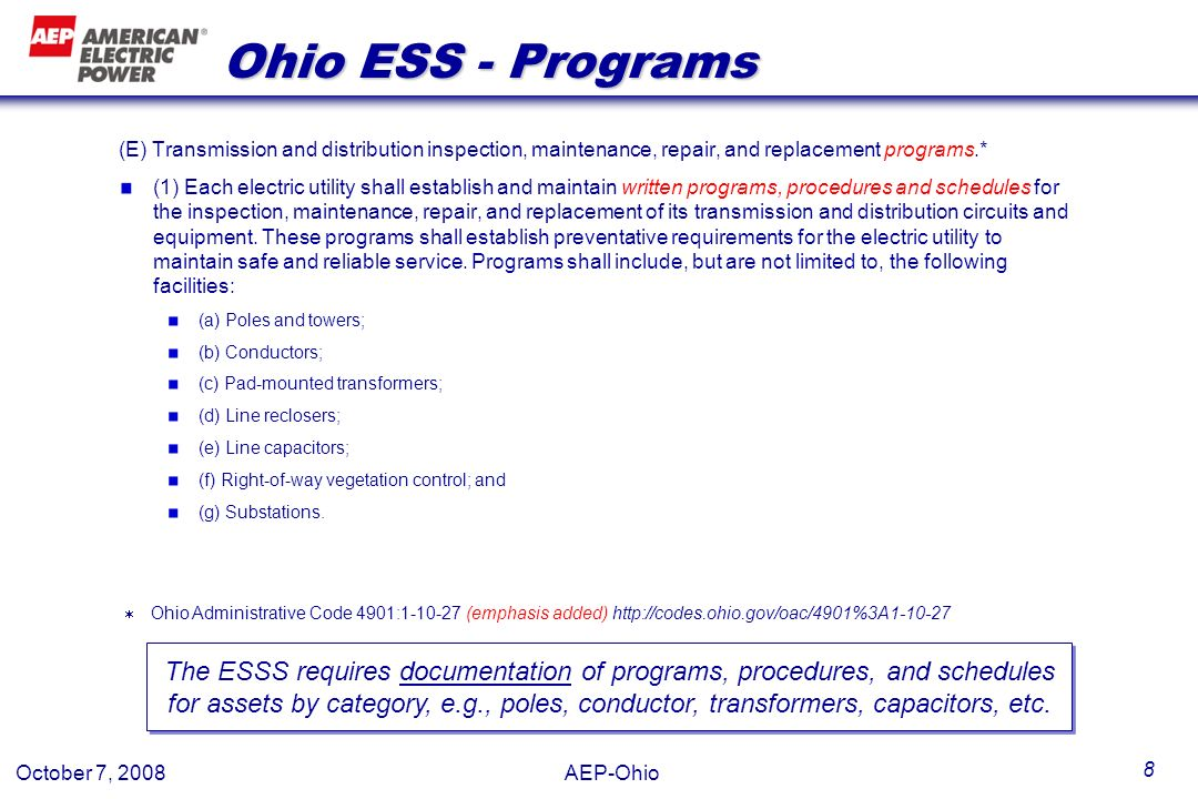 Ohio ESS - Programs (E) Transmission and distribution inspection, maintenance, repair, and replacement programs.*