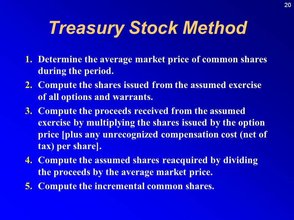Treasury Stock Method Determine the average market price of common shares during the period.