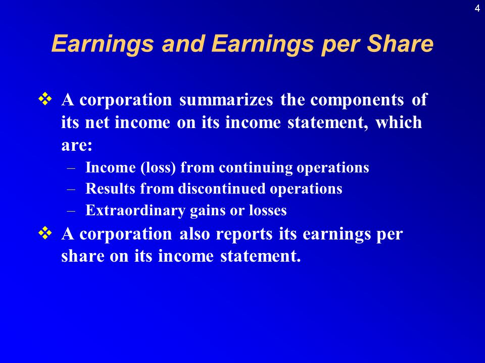 Earnings and Earnings per Share