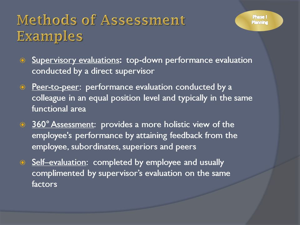 Methods of Assessment Examples