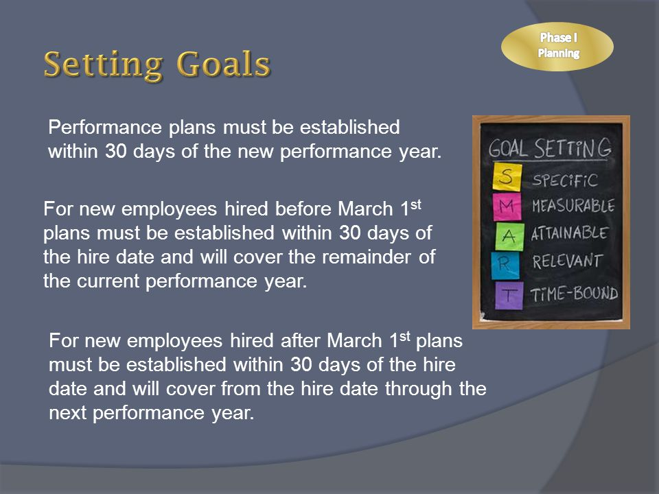 Setting Goals Phase I. Planning. Performance plans must be established within 30 days of the new performance year.