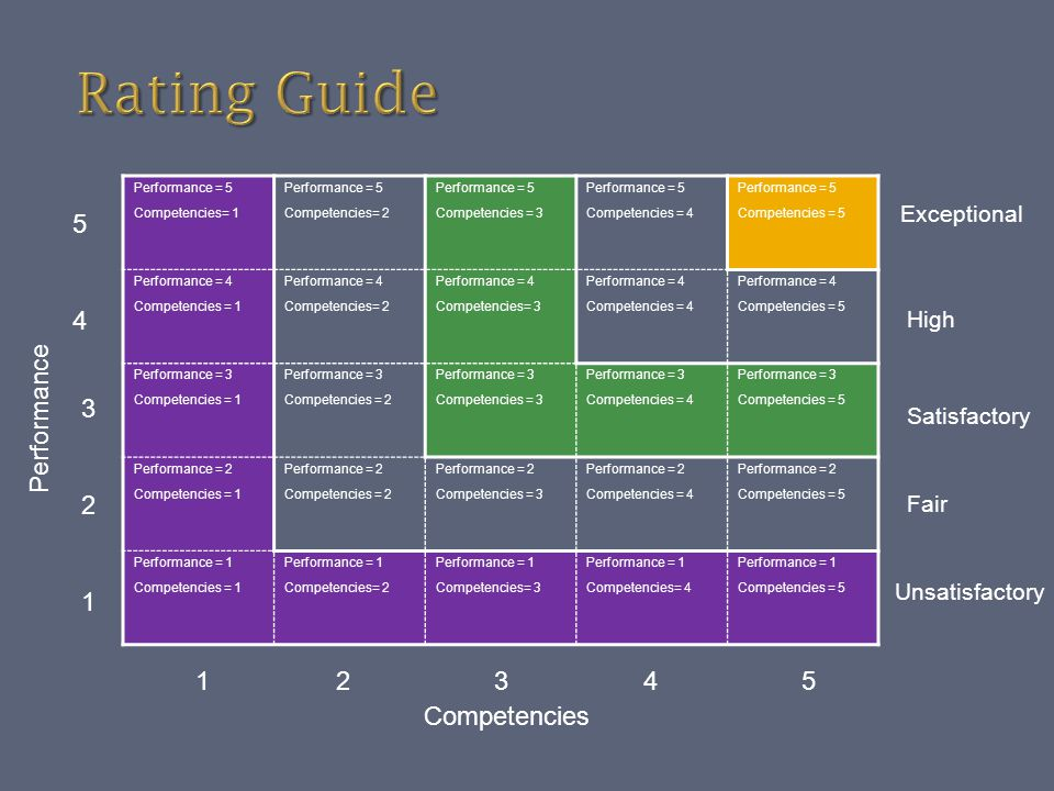 Rating Guide 5 4 Performance 3 2 1 1 2 3 4 5 Competencies Exceptional