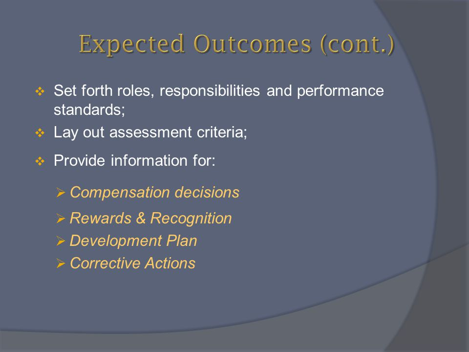 Expected Outcomes (cont.)