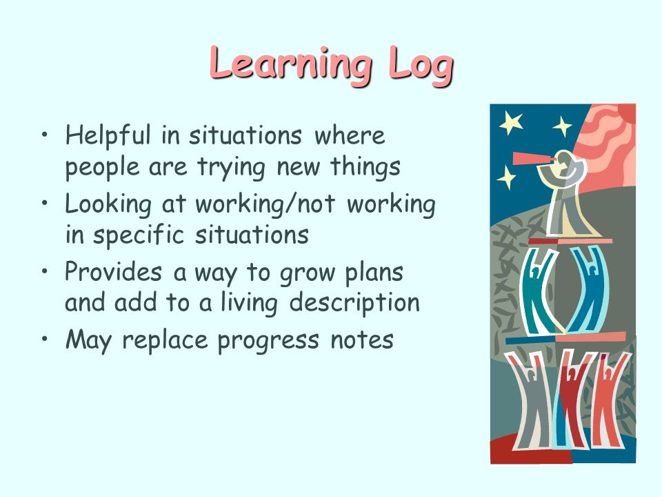 Learning Log Helpful in situations where people are trying new things