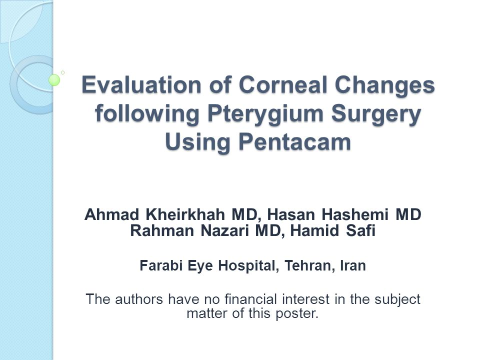Evaluation of Corneal Changes following Pterygium Surgery Using Pentacam