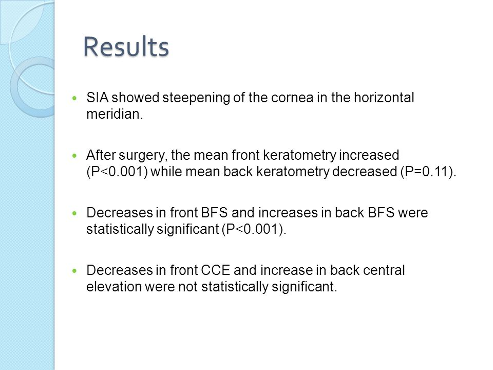 Results SIA showed steepening of the cornea in the horizontal meridian.