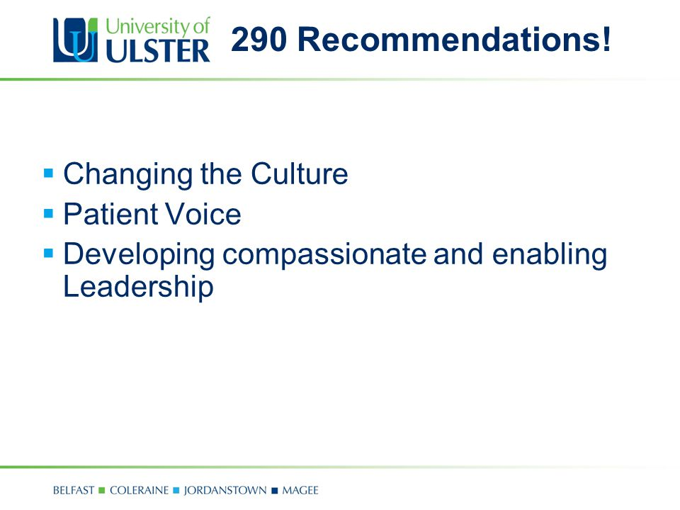 290 Recommendations! Changing the Culture Patient Voice