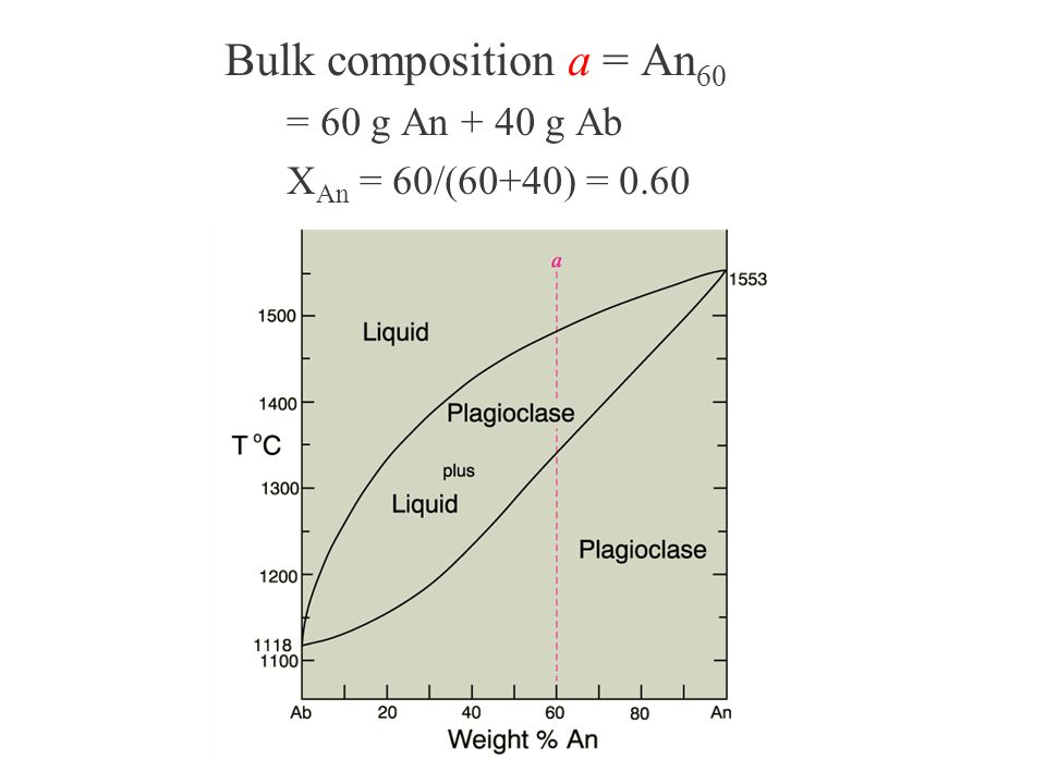 Bulk composition a = An60 Point a: at 1560oC = 60 g An + 40 g Ab