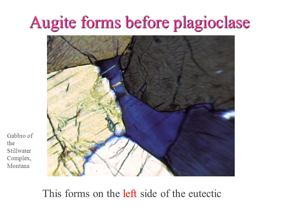 Augite forms before plagioclase