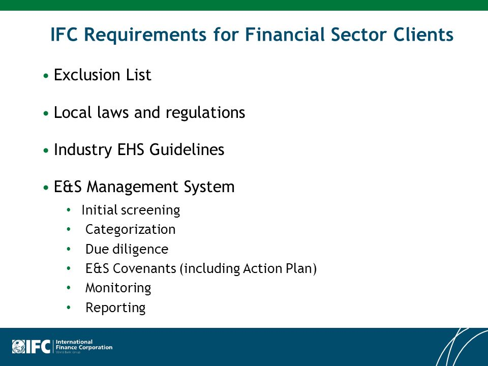 IFC Requirements for Financial Sector Clients