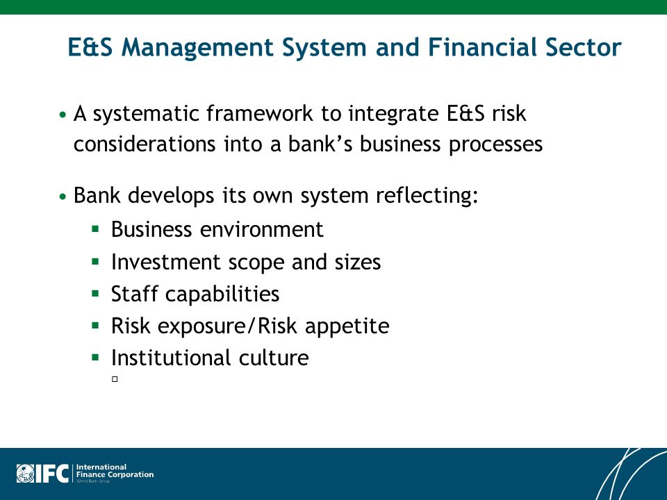 E&S Management System and Financial Sector