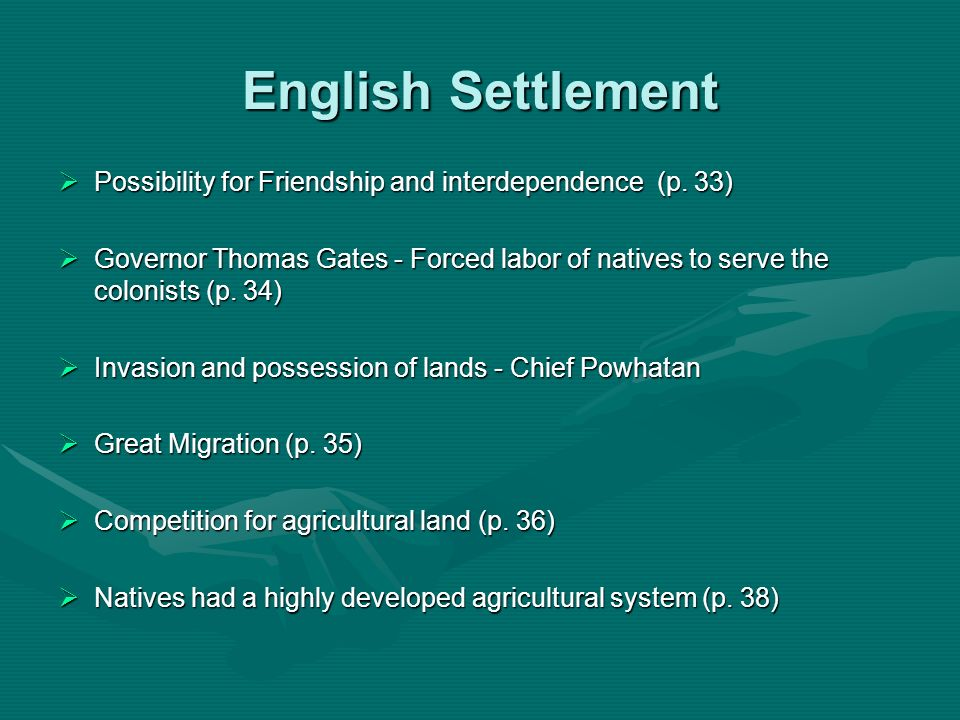 English Settlement Possibility for Friendship and interdependence (p. 33)