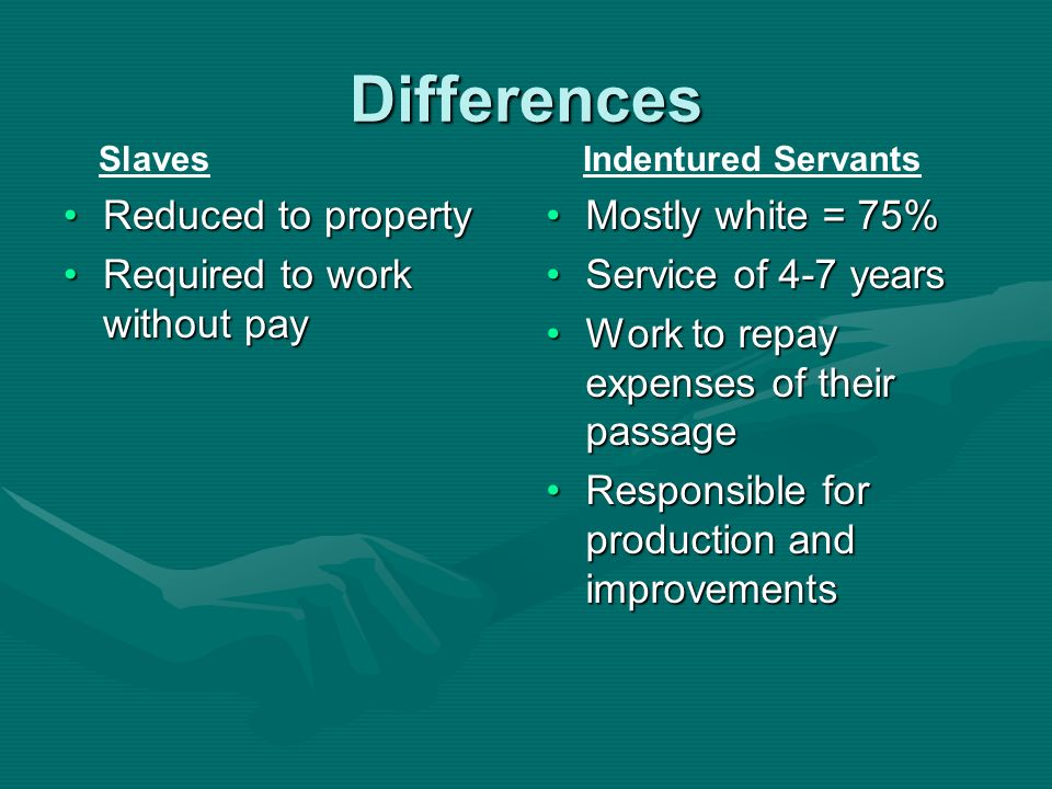 Differences Reduced to property Required to work without pay