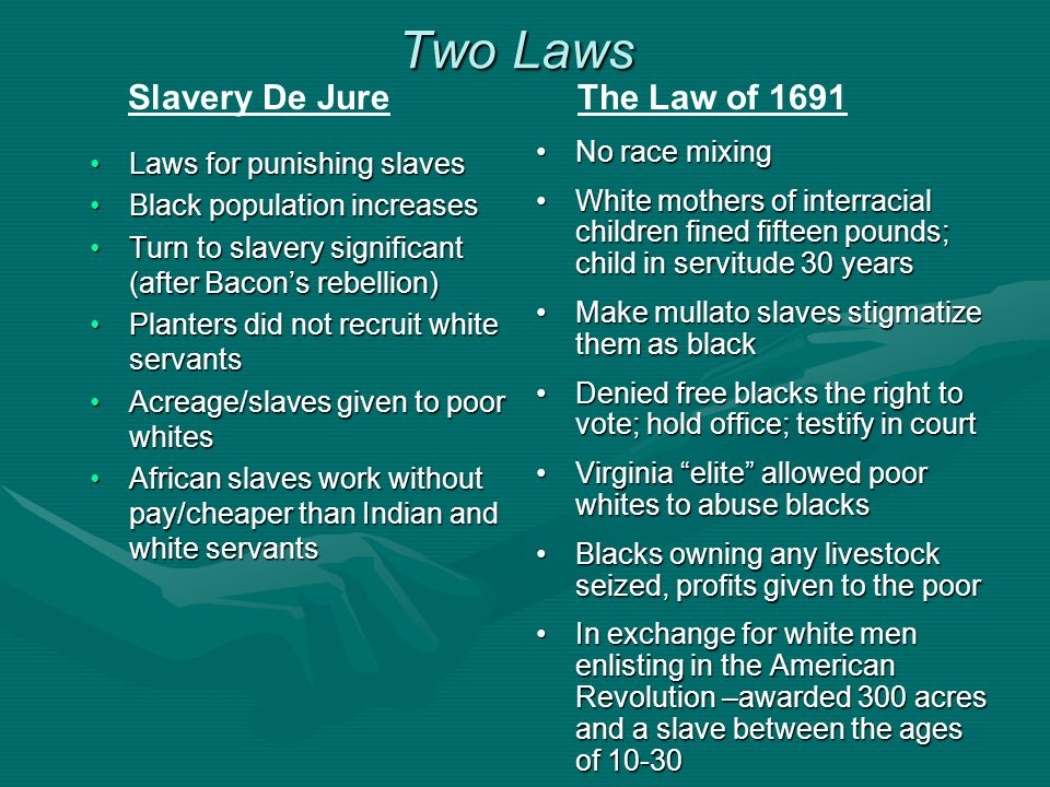 Two Laws Slavery De Jure The Law of 1691 No race mixing