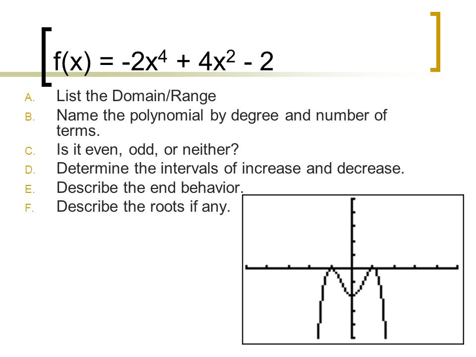 Polynomial Graphs Ppt Video Online Download. Fx 2x4 4x2 2 List The Domainrange. Worksheet. Domain Range And End Behavior Worksheet Answers At Mspartners.co