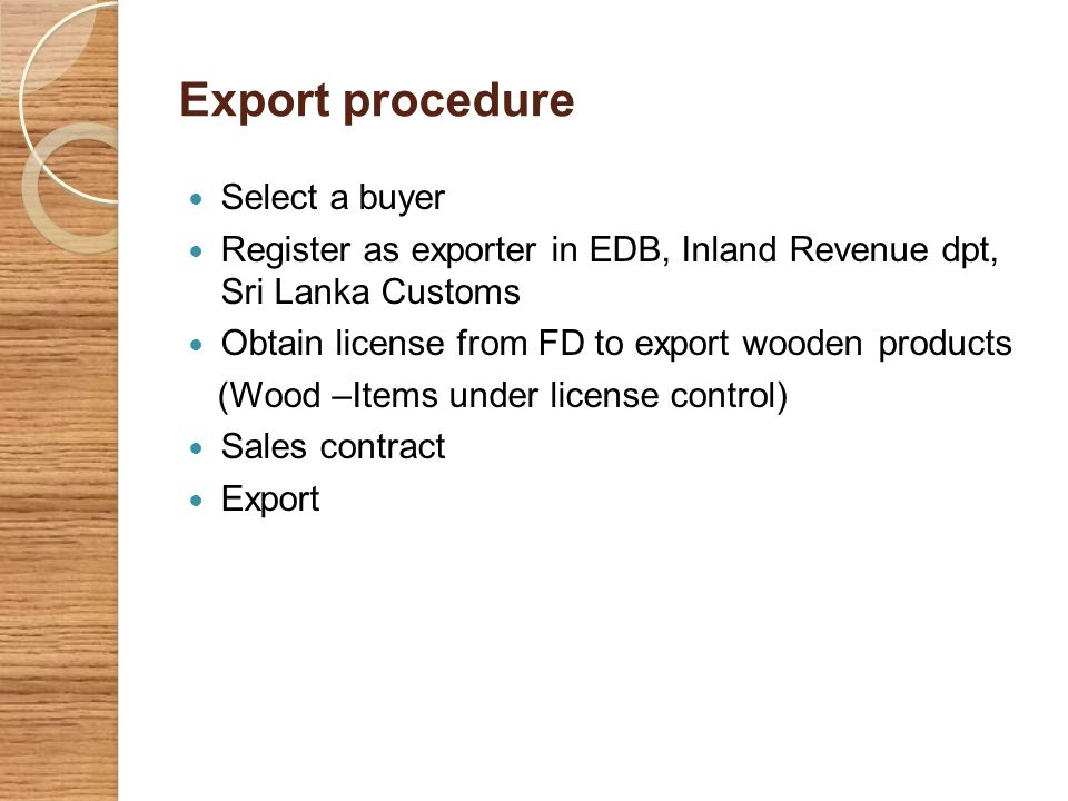 Export procedure Select a buyer