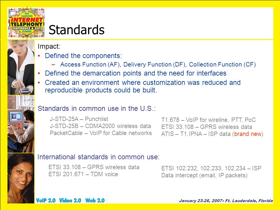 Standards Impact: Defined the components: