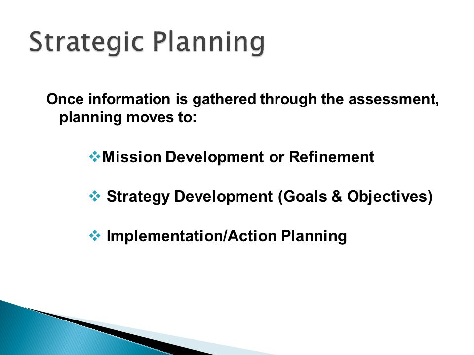 Strategic Planning Mission Development or Refinement