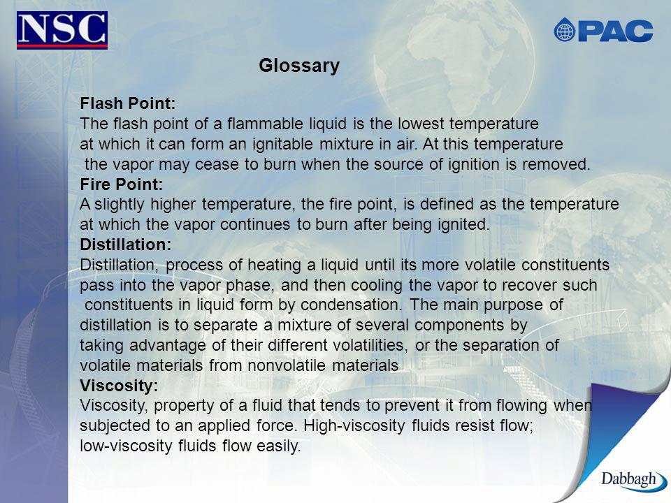 Glossary Flash Point: The flash point of a flammable liquid is the lowest temperature.