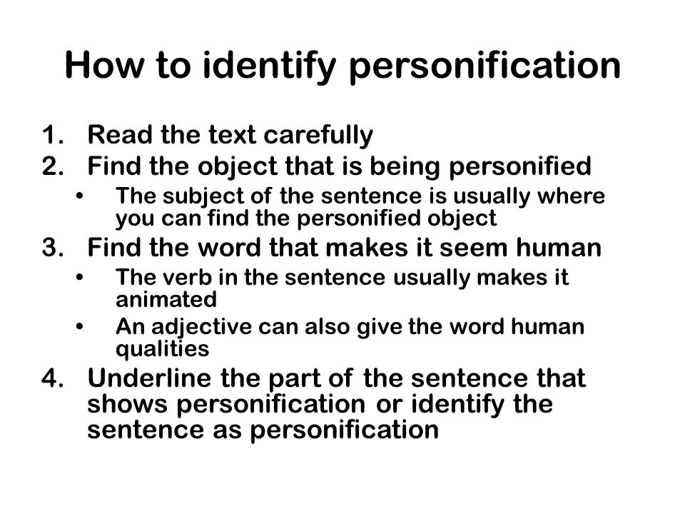 How to identify personification