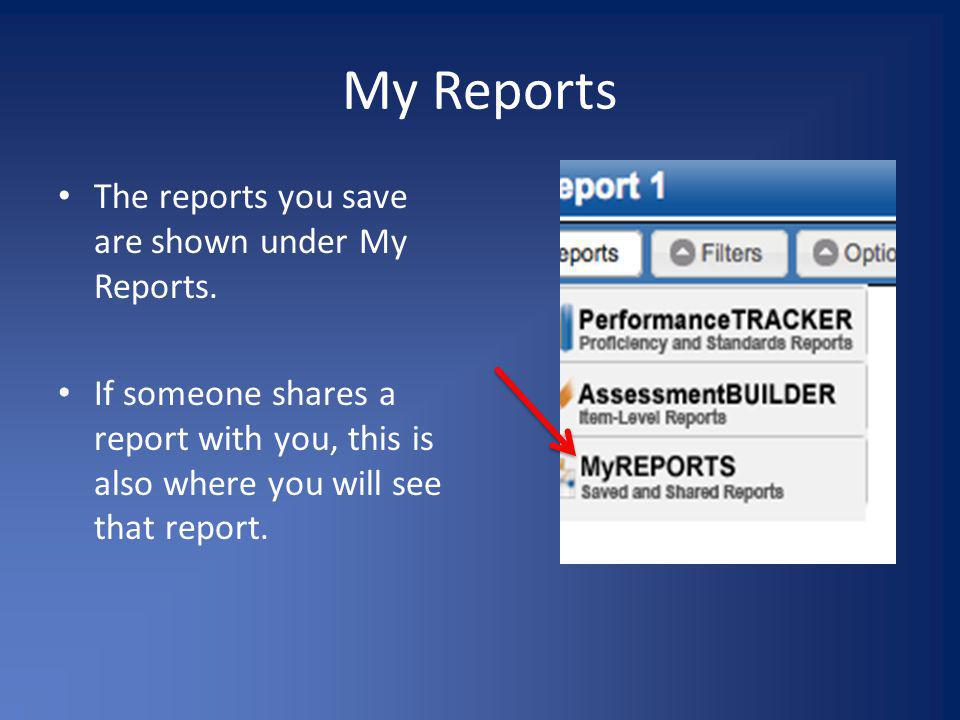 My Reports The reports you save are shown under My Reports.