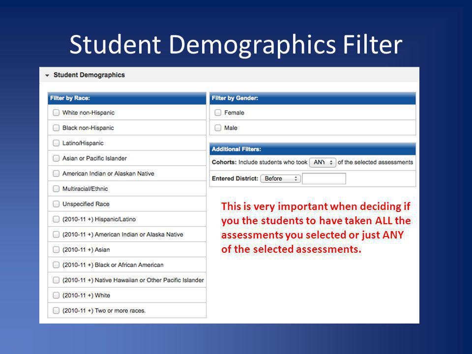 Student Demographics Filter