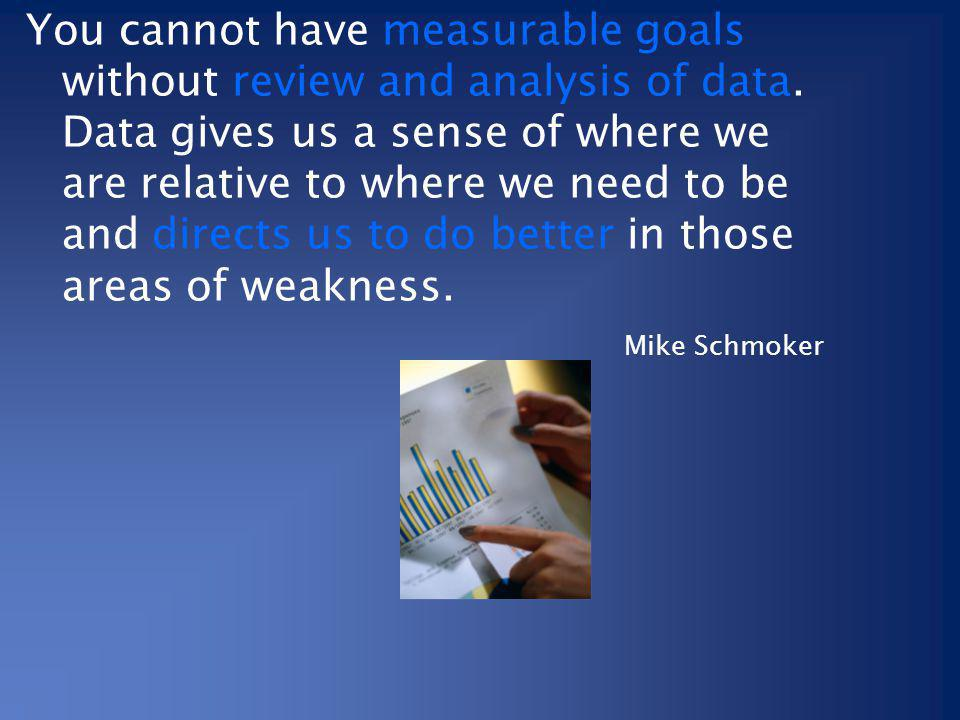 You cannot have measurable goals without review and analysis of data
