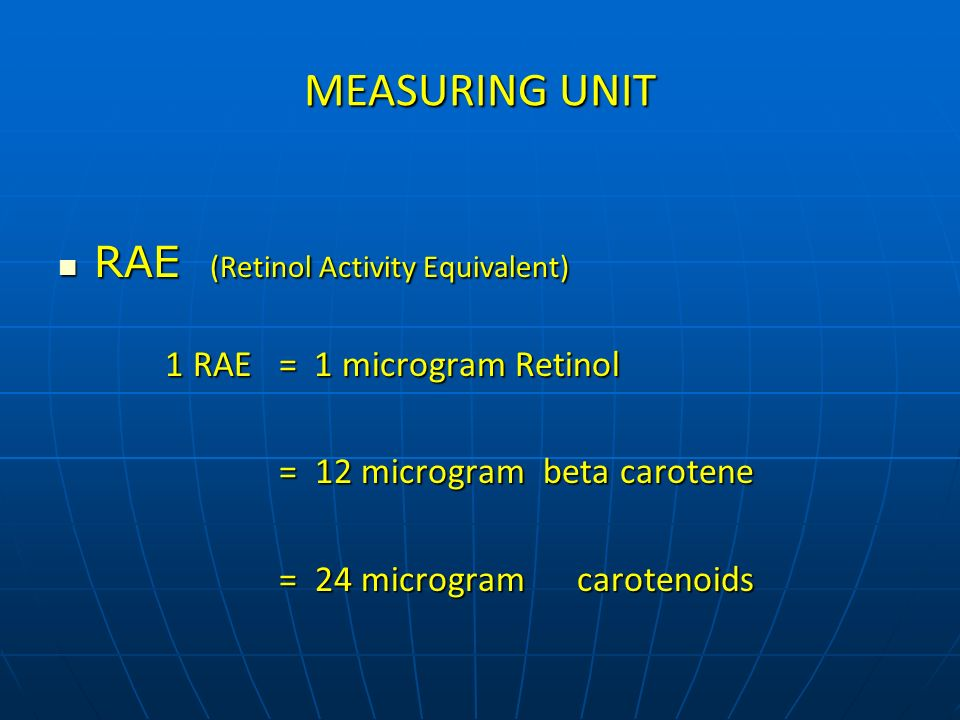 MEASURING UNIT RAE (Retinol Activity Equivalent)