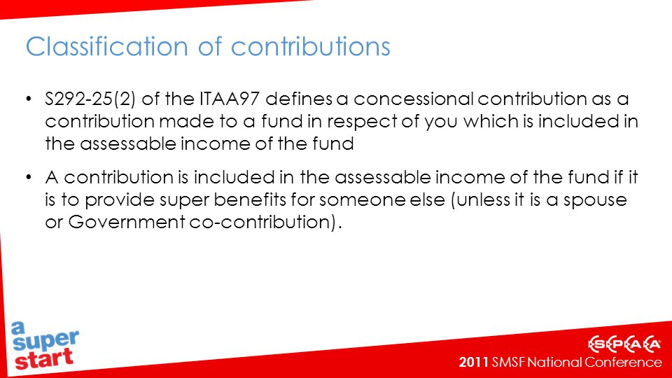 Classification of contributions