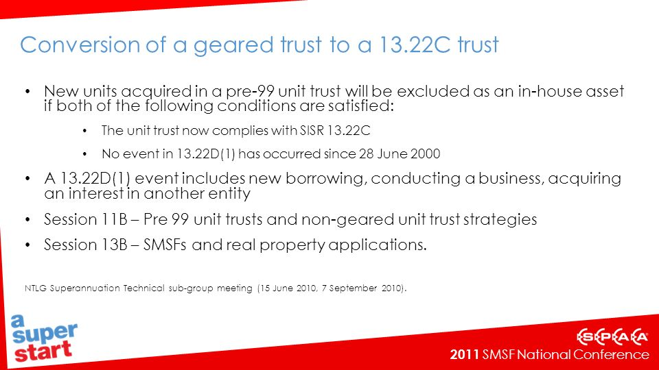 Conversion of a geared trust to a 13.22C trust