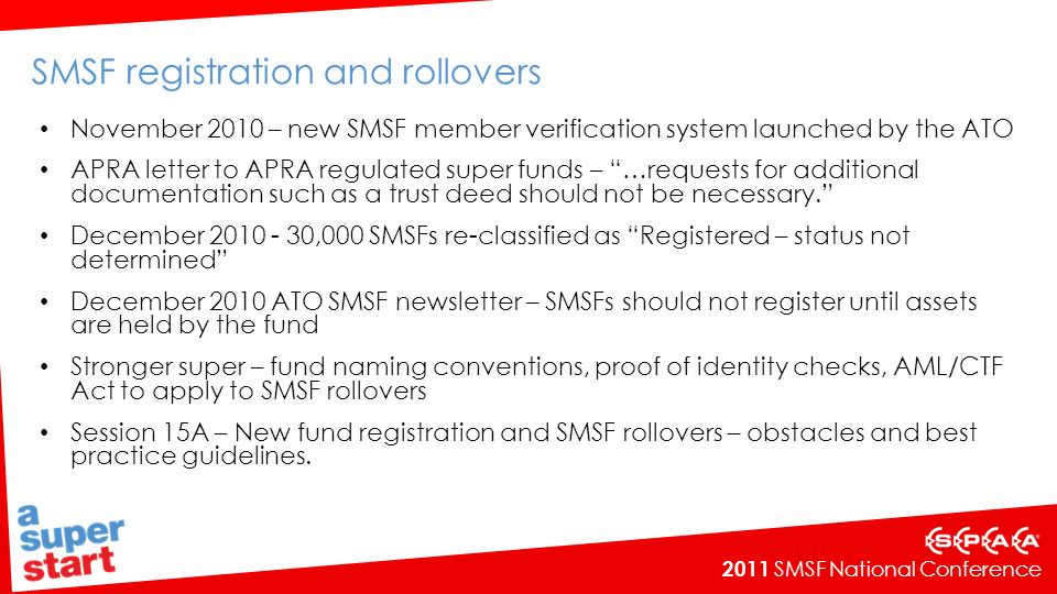 SMSF registration and rollovers